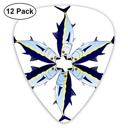 (Fin Tuna Star Small Medium Large 0.46 0.73 0.96mm Mini Flex Assortment Plastic Top Classic Rock Electric Acoustic Guitar Pick Accessories Variety Pack)