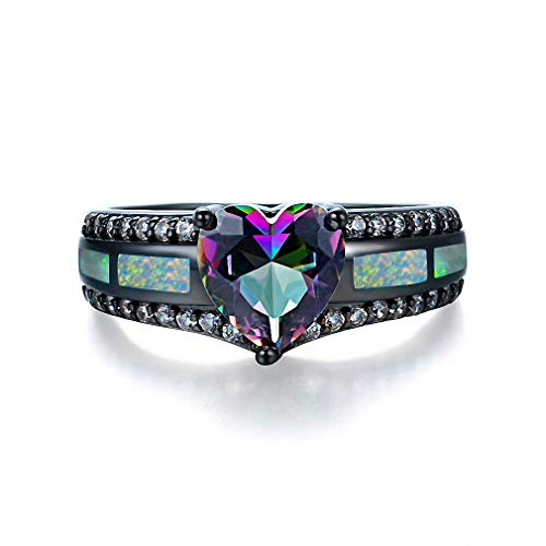 Giwotu Womens Mens Ring Charm Multicolor Heart Zircon Blue White Pink Fire Opal Rings for Women Vintage Fashion Black Gold Filled Birthstone Ring White Opal Multicolo 8 ()