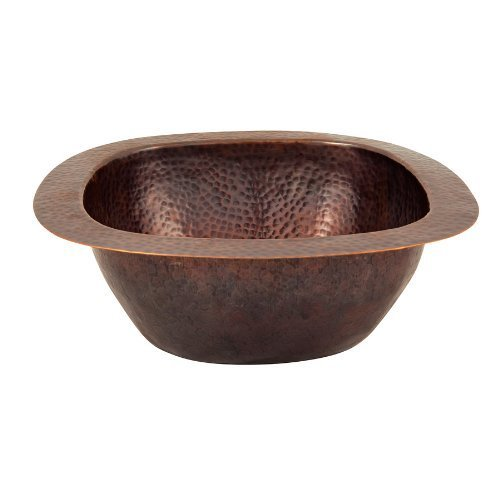 The Copper Factory CF154AN Solid Hand Hammered Copper 12.5-Inch by 12.5-Inch Small Square Bar/Prep Sink, Antique Copper by The Copper Factory by The Copper Factory