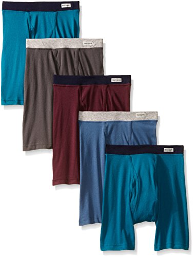 Fruit of the Loom Men's  5-Pack No Ride Up Covered Waistband Boxer Brief, Assorted,Large
