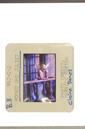 Slides photo of Claire Danes standing in balcony wearing an angel costume, a scene from the film