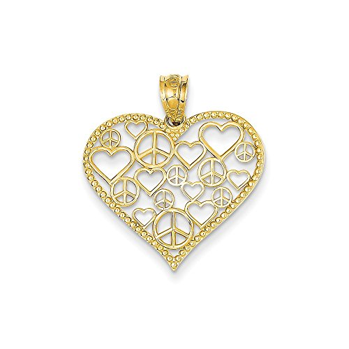 Peace Sign Heart Pendant Charm Fashion 14K Yellow Gold