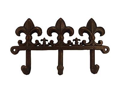 Cast Iron Fleur De Lis Wall Key Hook, Brown