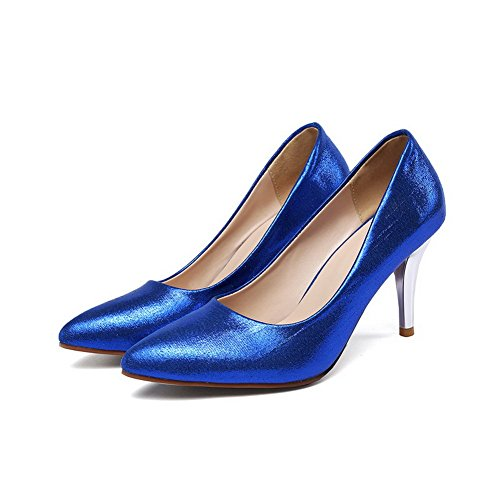 Unie Couleur Bleu Légeres AgooLar Correct Femme Chaussures Tire Talon à Pointu qORY1SF