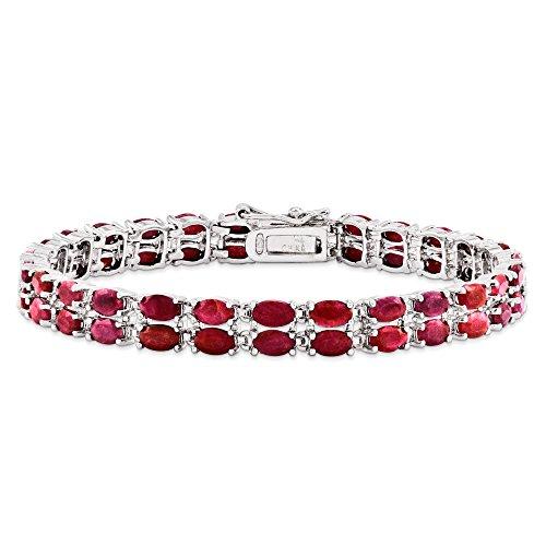 Bracelet Femme-Argent 925/1000-Rubis - 7 mm-Fermoir-JewelryWeb