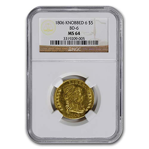 1806 Turban Head $5 Gold Half Eagle Knobbed 6 MS-64 NGC G$5 MS-64 NGC