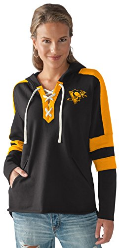 NHL Pittsburgh Penguins Women's Blue Line Hoodie, Black/Gold, Large