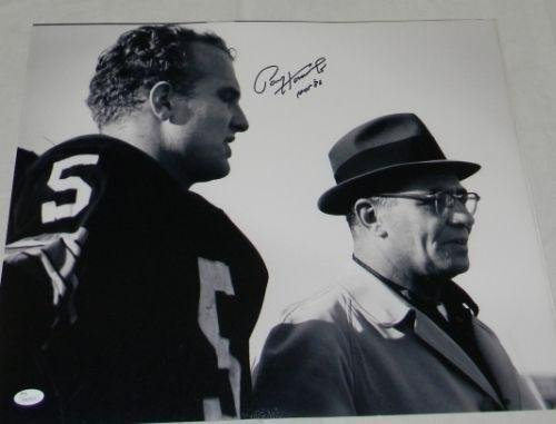 PAUL HORNUNG AUTOGRAPHED GREEN BAY PACKERS 16x20 PHOTO W/VINCE LOMBARDI - JSA Certified - Autographed NFL (Green Autographed Photo)