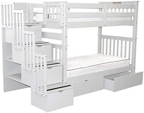picture of Bedz King Tall Stairway Bunk Beds Twin over Twin -