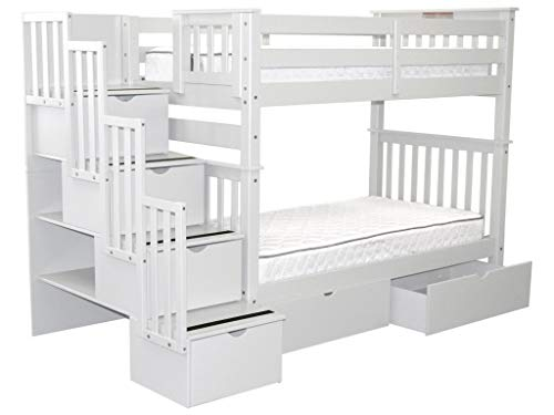 way Bunk Beds Twin over Twin with 4 Drawers in the Steps and 2 Under Bed Drawers, White ()
