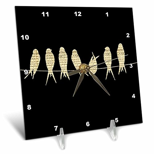 3dRose Print of Sheet Music Birds on Wire - Desk Clock, 6 by 6-Inch (dc_204176_1) (Clock Wire)