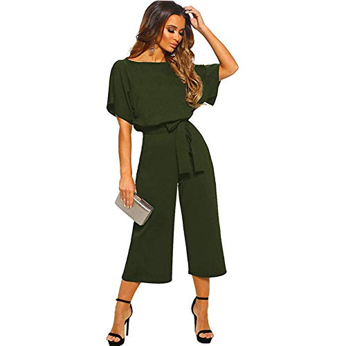 (ALAIX Women's Elegant Jumpsuit High Waist Crewneck Overall Short Sleeve Wide Leg Romper Midilength Playsuits with Belts ArmyGreen-XL)