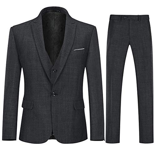 Mens 3 Piece Linen Suit Set Blazer Jacket Tux Vest Suit Pants Black ()