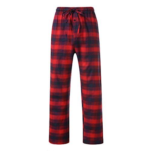 Mens Casual Home Trousers Comfy Breathable Plaid Pajamas Pants Cotton Lounge Sleep Bottoms