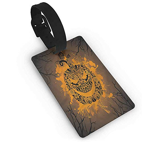 Cute Luggage Tag Halloween,Jack o Lantern Ghosts One Size Holder Travel Accessories]()