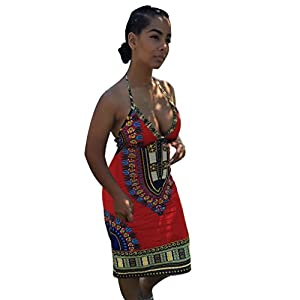 GoodLock Women Girls Fashion Dress Lady Female African Print Package Hip Deep V-Collar Tops Casual Print Backless Dress (Red, Size:L)