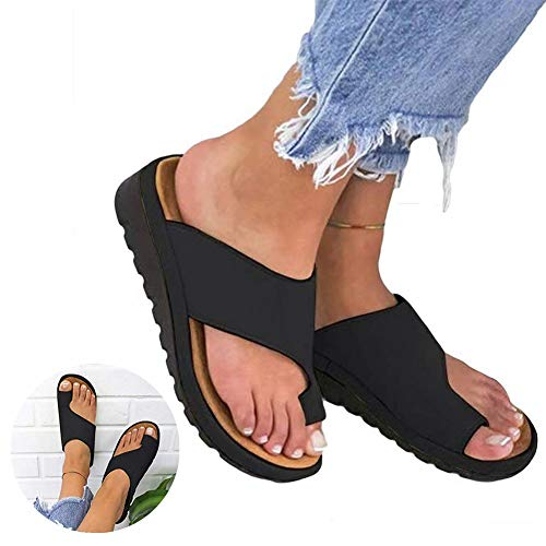 2019 New Women Comfy Platform Sandal Shoes - Summer Beach Travel Shoes for Women, Big Toe Straightener Open Toe Summer Shoes, PU Leather (US 9(40),black)