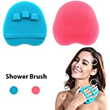 HieerBus Bath Sponge, Body Scrubber, Face Loofah Shower Brush Mat Exfoliating Gloves Wash Scrub for Men Women Baby Back Exfoliator -Soft Antimicrobial Silicone for All Kinds of Skin (Blue+Pink)