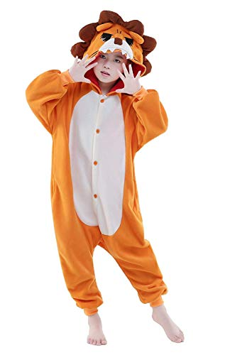 Women's Sleepwear Halloween Cosplay Unisex Child Lion Animal Pajamas Christmas Costume (115,Lion) -