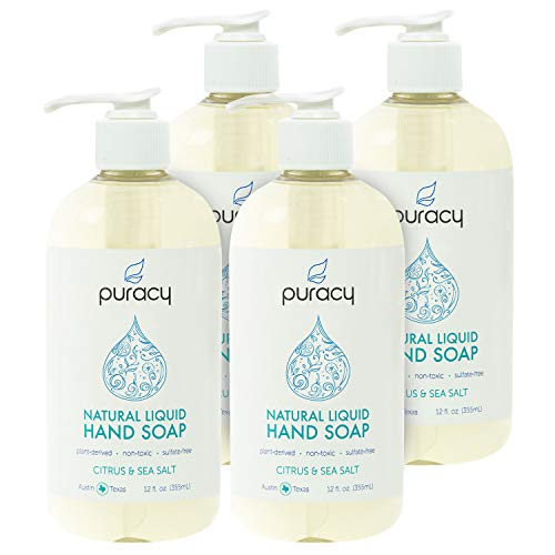 Puracy Natural Liquid Hand Soap, Sulfate-Free Gel Hand Wash, Citrus & Sea Salt, 12 Ounce (4-Pack)