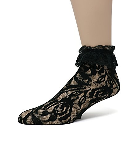 EMEM Apparel Women's Ladies Lace Anklet Ankle Quarter Socks Stockings with Ruffle Black 9-11