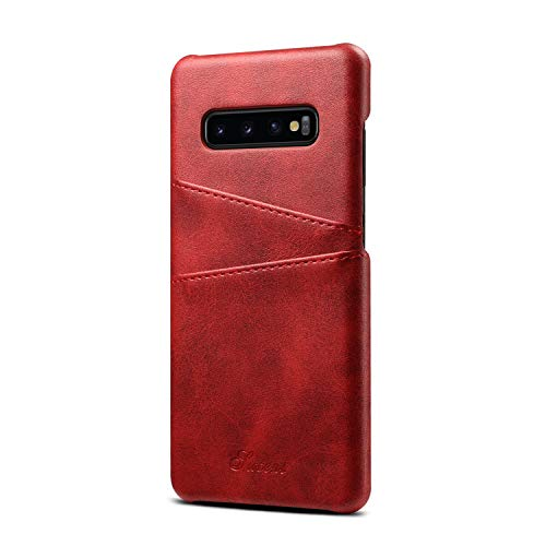 - S10P S10+ S10 Plus Case Cover Galaxy Samsung, Slim Fit Protective Red PU Leather Thin Credit Card Holder Women Girl Fashion Phone Shell