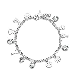 Winter's Secret Girls Silver Crystal Smile and Lovely Smiling Faces Key Tags Charm Bracelet