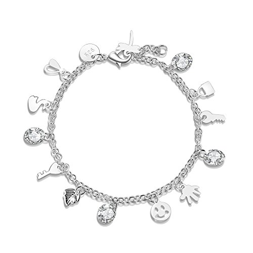 s Silver Crystal Smile and Lovely Smiling Faces Key Tags Charm Bracelet ()