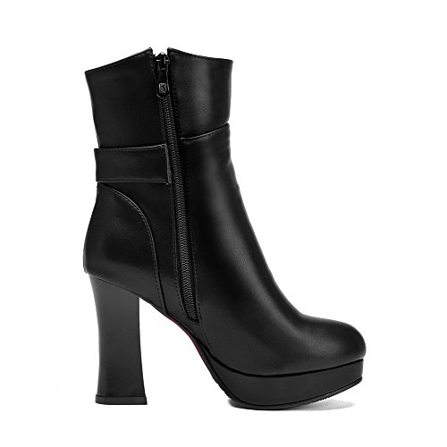 AmoonyFashion Womens Pu Zipper Mid-Top High-Heels Solid Boots with Charms, Black-Zippers, 35