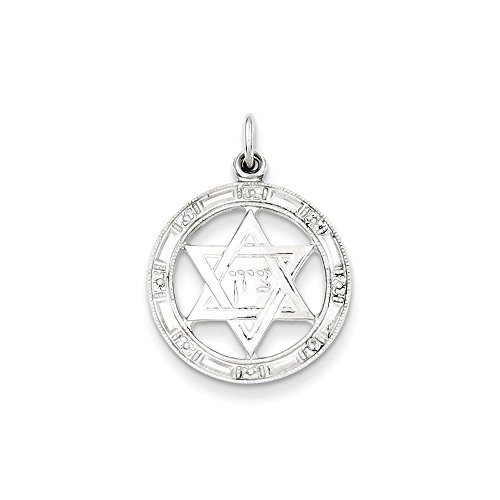 Sterling Silver Star of David Disc Charm Pendant (0.79 in x 0.71 in)