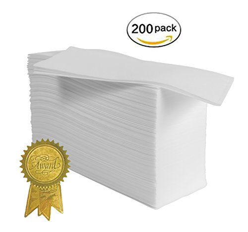 Disposable guest towels 200 pack linen feel hand napkins air laid paper towels by magnifiso for Bathroom hand towels disposable