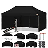 ABCCANOPY 10 X 20 Easy Pop up Canopy Tent Commercial Instant Gazebos with 9 Removable Sides and Roller Bag and 6X Weight Bag, Black