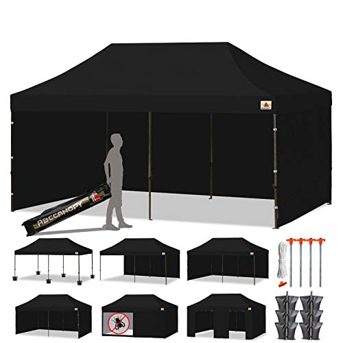 ABCCANOPY 18+Colors Deluxe 10x20 Pop up Canopy Outdoor Party Tent Commercial Gazebo with Enclosure Walls and Wheeled Carry Bag Bonus 6X Weight Bag and 2X Half Wall (Black)
