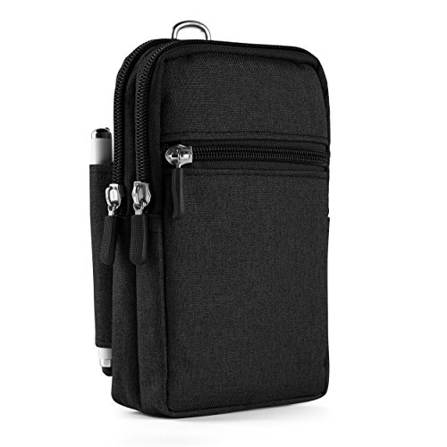 Oxford Canvas Outdoor Waist Pouch w/Clip & Pen Slot for Motorola Moto G6 G5s E5 Plus/X4/G6 E5 Play/Blackberry Motion/KEYone/Sony Xperia XZ2/L2/XA2 Ultra (Black)
