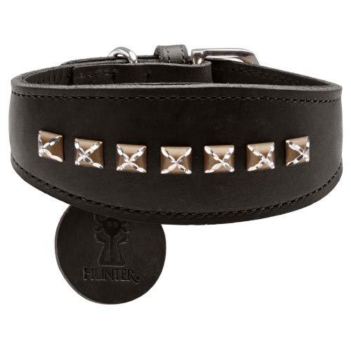 Black xs black xs HUNTER Greyhound collar Larvik Style, 32 Soft genuine cow leather, black black