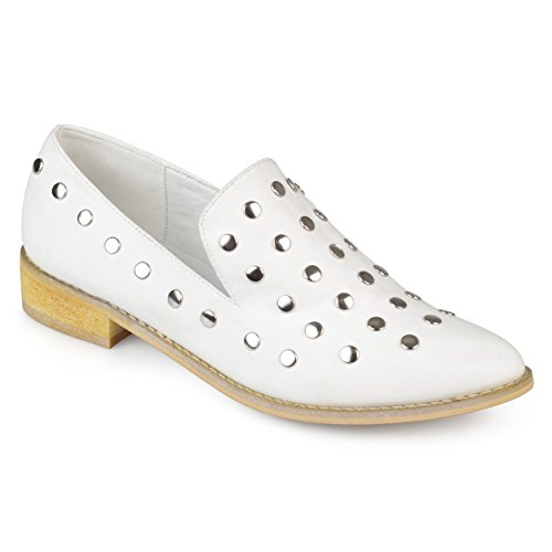 Journee Collection Womens Bout Pointu Stud Blanc
