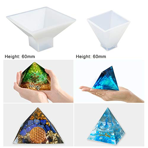 4 Pack Pyramid Silicone Molds LET'S RESIN Resin Casting Molds, Cone Epoxy Resin Molds, Silicone Jewelry Molds for Orgone Pyramid, Home Decoration, Candle and Soap Making