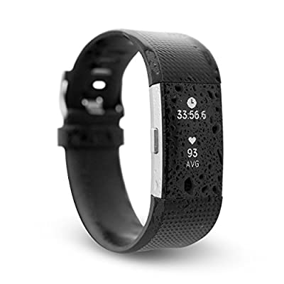 Waterfi Waterproof Fitbit Charge 2 - Silver/Black - Activity Tracker with Heart Rate Monitor