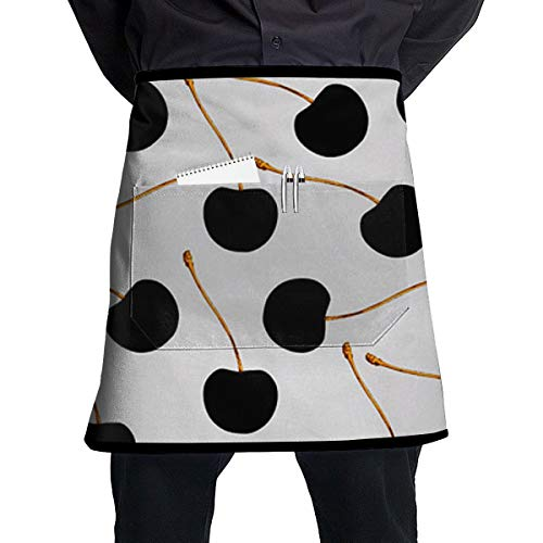 Jaylon Pocket Half Length Short Waist Apron Black Cherry Fruit Cooking Apron with Pockets Home Kitchen Cooking Pinafore
