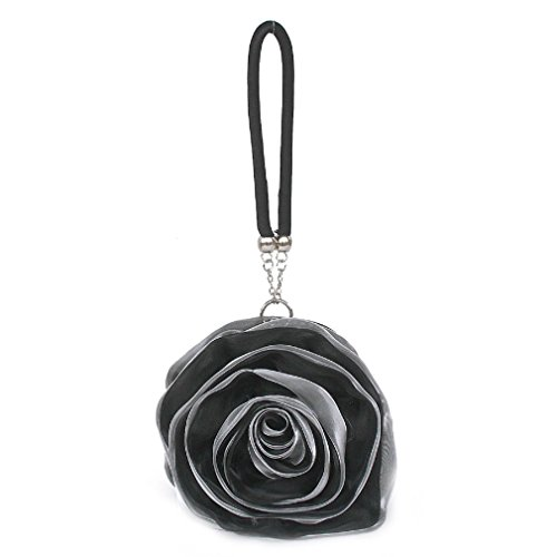 Black Wrist Women's Rose Money Pouch Bag Flower Evening Silk Mini Clutch Dilize FPCw0qBqA