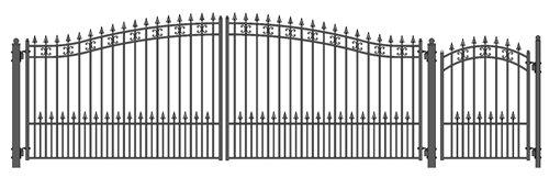 ALEKO SET18X4STPD St. Petersburg Style Galvanized Dual Swing Steel Gate Set Driveway Security Gate & Pedestrian Gate Black ()