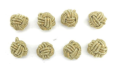 (Designer 8 Gold Metallic Cord Buttons -Love Knot Chinese Premium Buttons Set for Blouse, Shirts Dress)