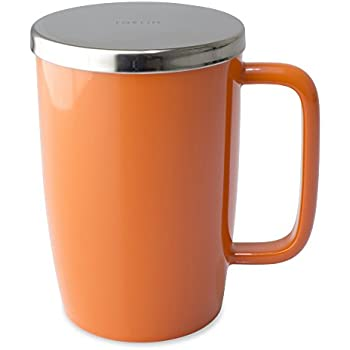 FORLIFE Dew Glossy Finish Brew-In-Mug with Basket Infuser &