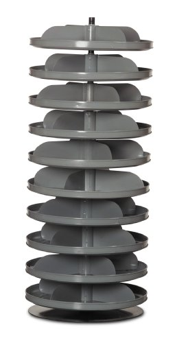 "Durham 1110-95 Rotabin Gray Cold Rolled Steel 10 Revolving Shelves, 600lbs Capacity, 17"" Diameter x 41-3/8"" Height"