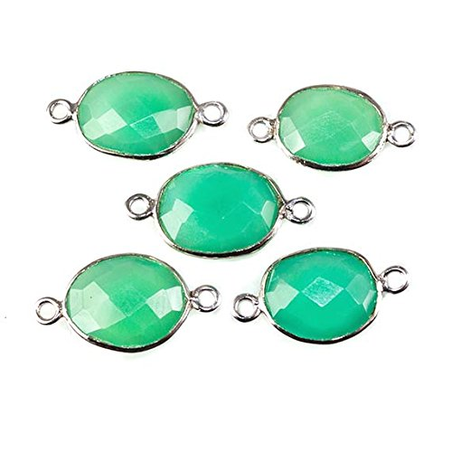(18x10mm Silver Bezel Mint Green Chalcedony faceted nugget Connector 1 bead)