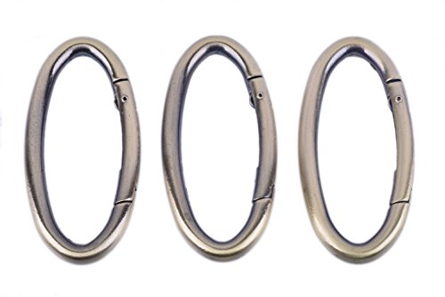 (KONMAY 10pcs Oval Shaped Polished Antique Brass Gate Spring Rings Buckles Carabiner Snap Clip Trigger for Backpack, Keyrings, Purses, Jewelry )