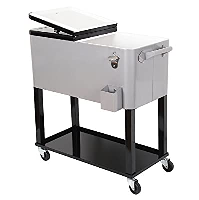 UPHA 80 Quart Rolling Ice Chest Portable Patio Party Bar Drink Entertaining Outdoor Cooler Cart on Wheels