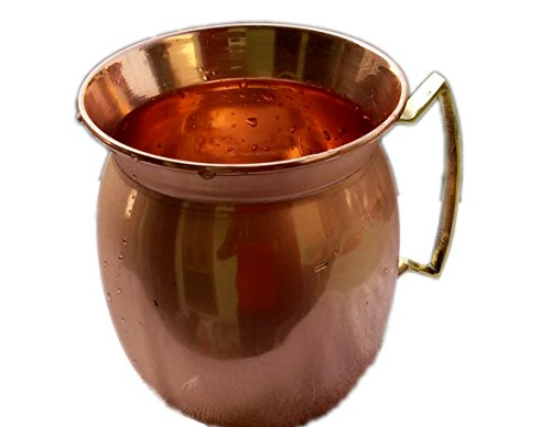 STREET CRAFT 100% Authentic Copper Old Fashion Smooth Moscow Mule Mug with Flat Lip Copper Moscow Mule Mugs Cups Copper Brass Handle -