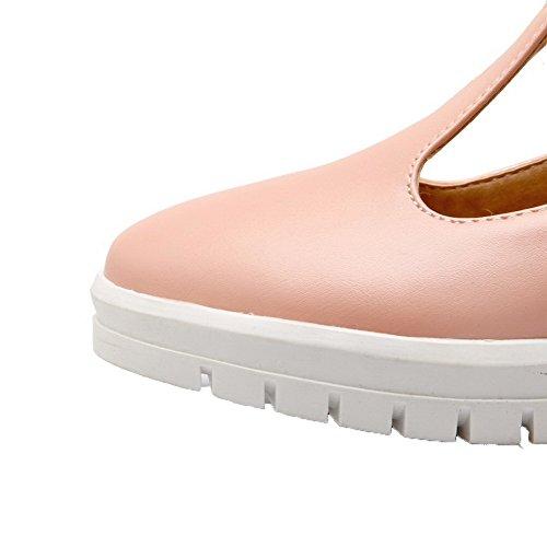 Amoonyfashion Kvinners Spenne Lave Hæler Pu Faste Lukkede Firkant Tå Pumpe-sko Rosa