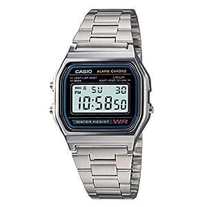 Casio vintage A158WA-1DF, reloj unisex con correa de metal, color plata